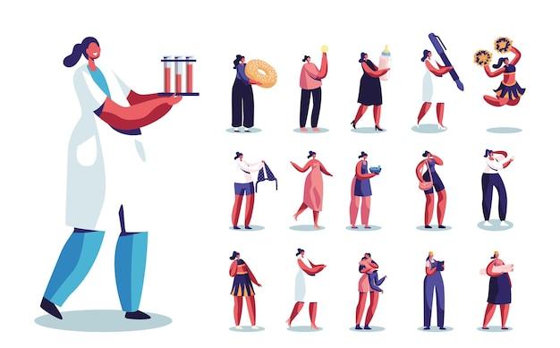 Satz von weiblichen charakteren krankenschwester tragen reagenzgläser, frau mit riesigem donut, mutter mit milchflasche, geschäftsfrau mit stift, cheer leader isoliert auf weißem hintergrund. cartoon-menschen-vektor-illustration