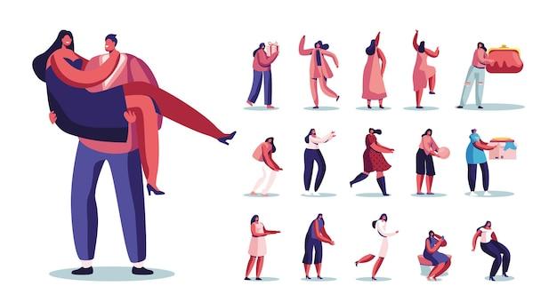 Satz von weiblichen charakteren lifestyle, frau auf den händen des mannes, geschenkbox und geldbörse halten, frau kleidung spenden, im spiegel suchen, kleid auf weißem hintergrund tragen. cartoon-menschen-vektor-illustration