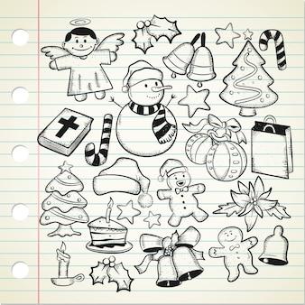 Satz von weihnachten doodle