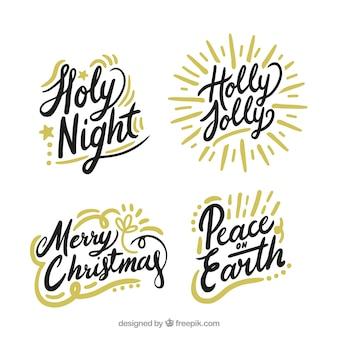 Satz von weihnachten schriftzug