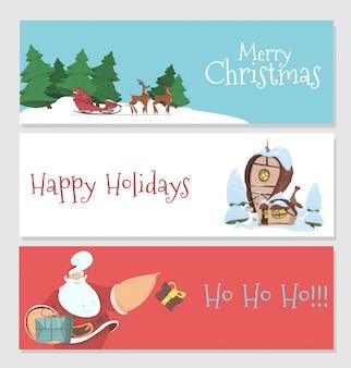 Satz von weihnachten und neujahr banner