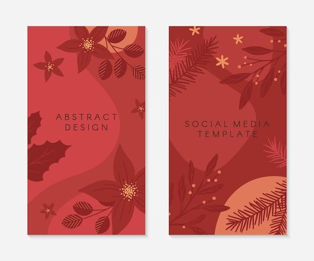 Satz von weihnachts- und frohes neues jahr-insta-story-vorlagen. feiertagswerbung und werbekonzepte. moderne vektorlayouts. weihnachtstrendiges design für social media-marketing, digitale post, drucke, banner.