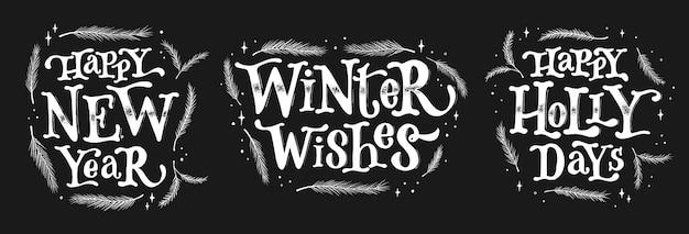 Satz von weihnachtsbeschriftungszitaten auf blackboar