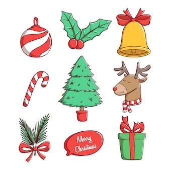 Satz von weihnachtselementen mit buntem stil