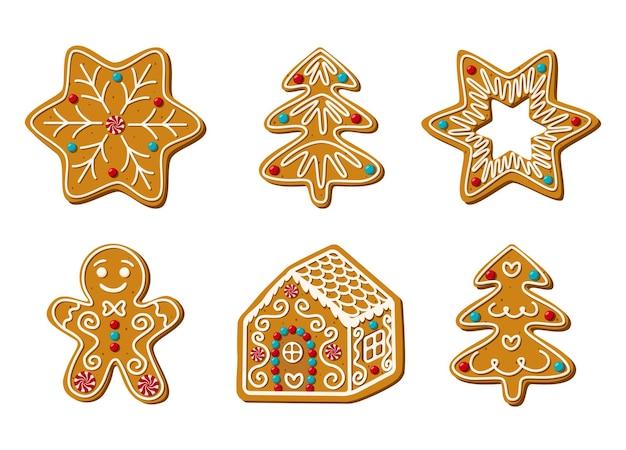 Satz von weihnachtslebkuchen hausgemachte süßigkeiten vektor-illustration