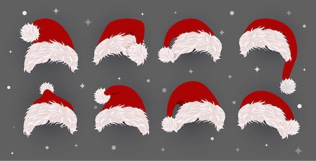 Satz von weihnachtsmützen-vektor-icons-vorlage für weihnachtsfotografie und grußkartenvektor
