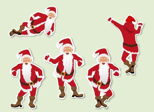 Satz von weihnachtsweihnachtsmann. etiketten aus papier mit schatten.