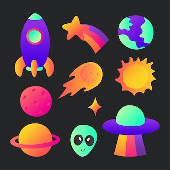 Satz von weltraumsymbolen planeten cartoon-stil auf schwarzem hintergrund isoliert