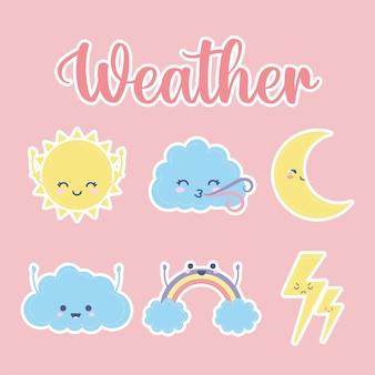 Satz von wettersymbolen mit wetterbeschriftung auf einem rosa illustrationsentwurf