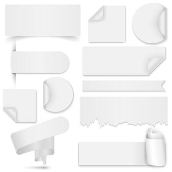 Satz von whitepaper-aufkleber und banner auf weißem hintergrund