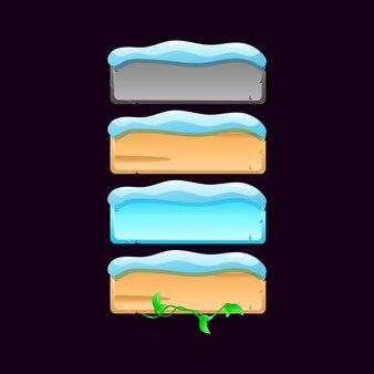 Satz von winterspiel-ui-brettknopfsymbol. stein-, holz-, blatt-, schneetextur für gui-elementelementeillustration