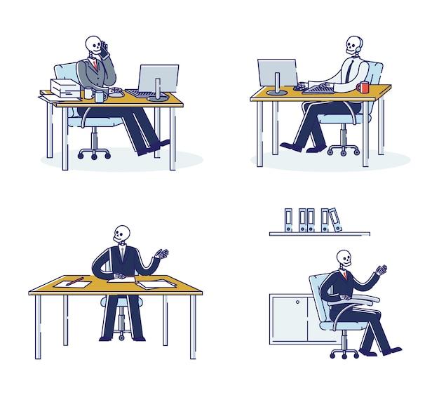 Satz von workaholic-büroangestellten-skeletten an arbeitsplätzen. schädel geschäftsleute tot von der arbeit. erschöpfte überarbeitete geschäftsleute workaholics