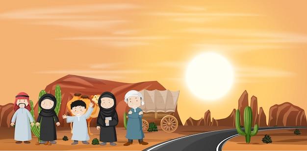 Satz von wüstenlandschaft