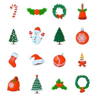 Satz von xmas isolated-symbol. cartoon-stil. vektorabbildung für weihnachtstag.