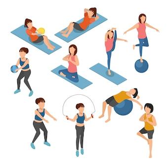 Satz von yoga und gymnastik auf isometrischer illustration