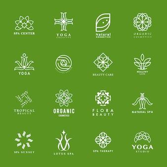 Satz von yoga und spa-logo