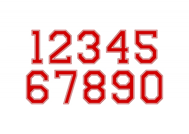 Satz von zahlen mit roten und weißen typografie-gestaltungselementen