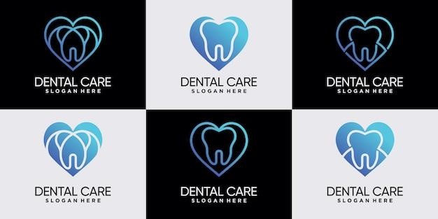 Satz von zahnklinik-logo-design mit herzlinearem stil und negativem raumkonzept premium-vektor