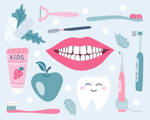 Satz von zahnpflege mundhygiene kaugummi nudeln schneeweißes lächeln apfel