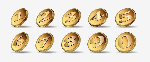 Satz von zehn 3d-goldmünzen. medaillenmünzen. 1,2,3,4,5,6,7,8,9,10. abzeichen. punkt. vektorillustration lokalisiert auf weißem hintergrund. bearbeitbare elemente und blendung. casino-spiel. reich