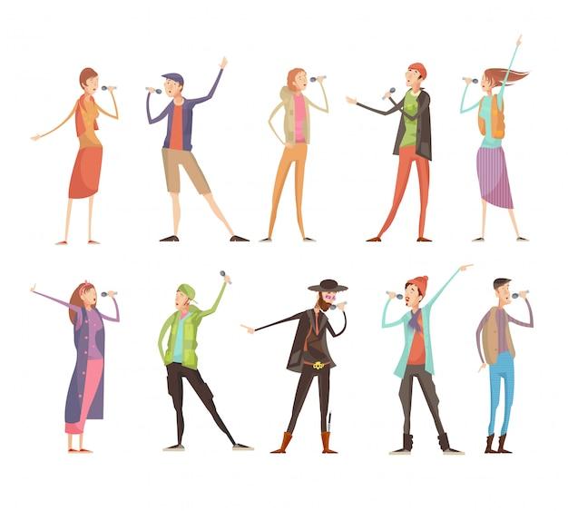 Satz von zehn flachen lokalisierten leutecharakteren an der karaoke-gruppenparty mit mikrophonen und bunten kosten