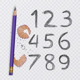 Satz von zehn zahlen von eins bis neun, zahlen mit bleistift gezeichnet