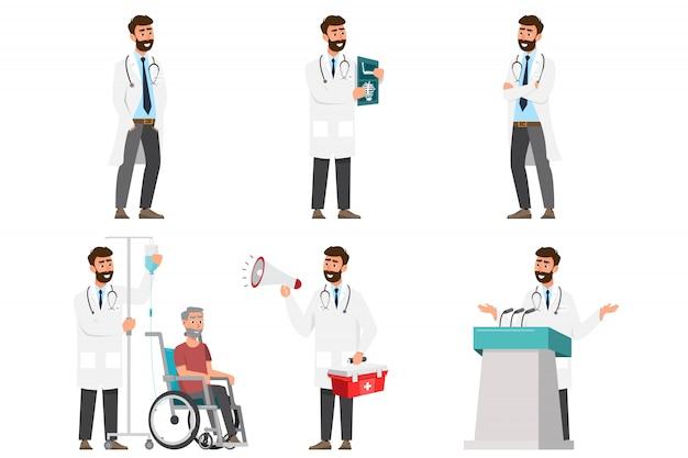 Satz von zeichentrickfiguren des doktors. konzept des medizinischen personalteams im krankenhaus.