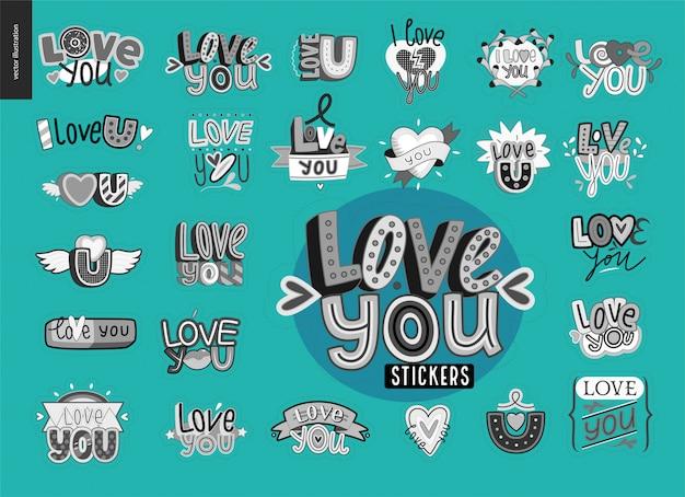 Satz von zeitgenössischen mädchen love you brief logo