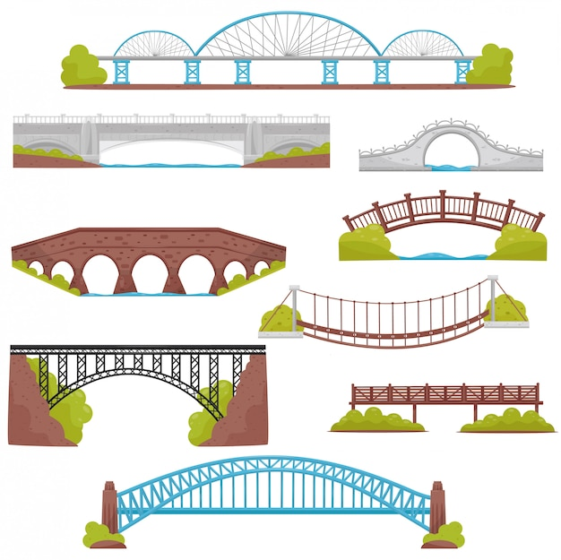 Satz von ziegel-, eisen-, holz- und steinbrücken. landschaftselemente. thema architektur und stadtbau