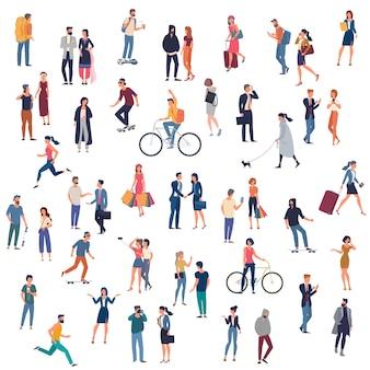 Satz von zu animierenden personencharakteren, die verschiedene aktivitäten ausführen. gruppe von mann und frauen flache designart-karikaturfiguren lokalisiert auf weißem hintergrund.