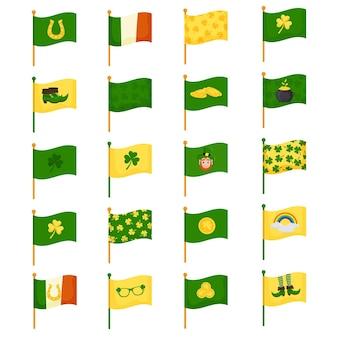 Satz von zwanzig flaggen, die mit elementen für den feiertag st. patrick's day dekoriert sind, im cartoon-stil. vektorillustration lokalisiert auf einem weißen hintergrund.