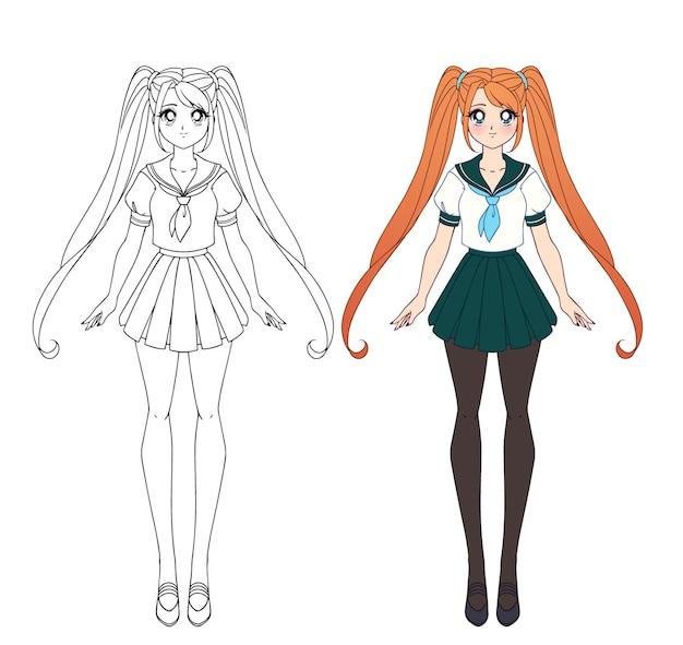 Satz von zwei anime-mädchen. nette mädchen mit großen augen und japanischer schuluniform. kontur- und flache malbuchversionen.