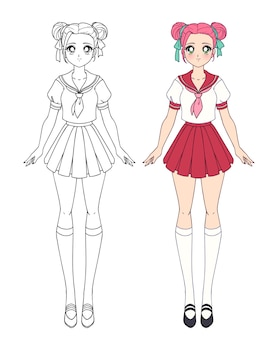 Satz von zwei anime-mädchen. nette mädchen mit großen augen und japanischer schuluniform.