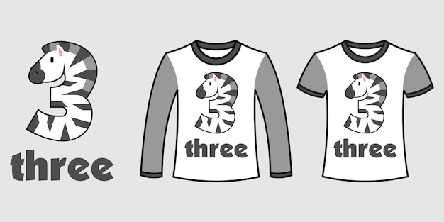 Satz von zwei arten von kleidung mit zebraform der nummer drei auf t-shirts freier vektor