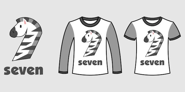 Satz von zwei arten von kleidung mit zebraform der nummer sieben auf t-shirts freier vektor