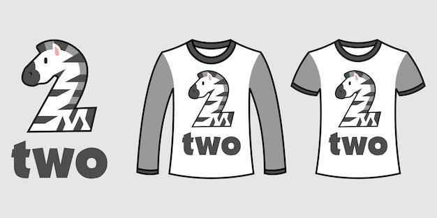 Satz von zwei arten von kleidung mit zebraform der nummer zwei auf t-shirts freier vektor