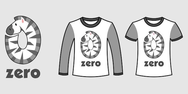 Satz von zwei arten von kleidung mit zebraform der zahl null auf t-shirts freier vektor