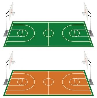 Satz von zwei basketballplätzen