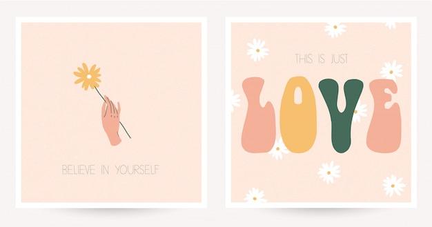 Satz von zwei bunten postkarten in der hippieart mit weinlesebeschriftung.