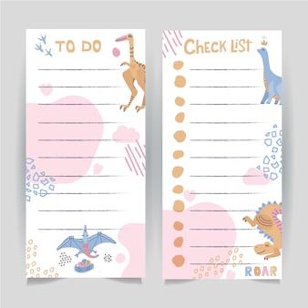 Satz von zwei druckbare vorlage zu tun und checkliste seite mit handgezeichneten dinosaurus verziert.