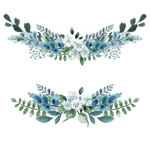 Satz von zwei floralen symmetrischen blumensträußen kaltes grün