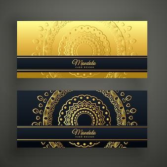 Satz von zwei goldenen fahnen der luxusmandala
