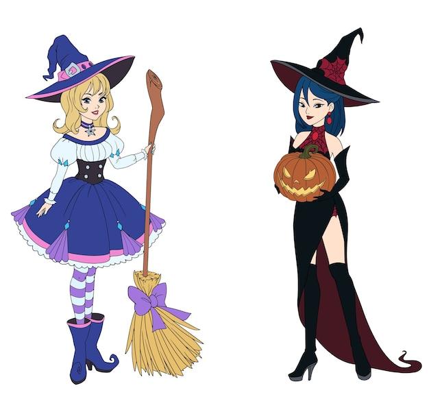 Satz von zwei hexen, die besen und halloween-kürbis halten.