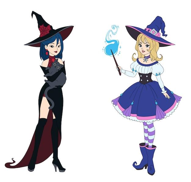 Satz von zwei hexen, die graue katze und zauberstab halten.