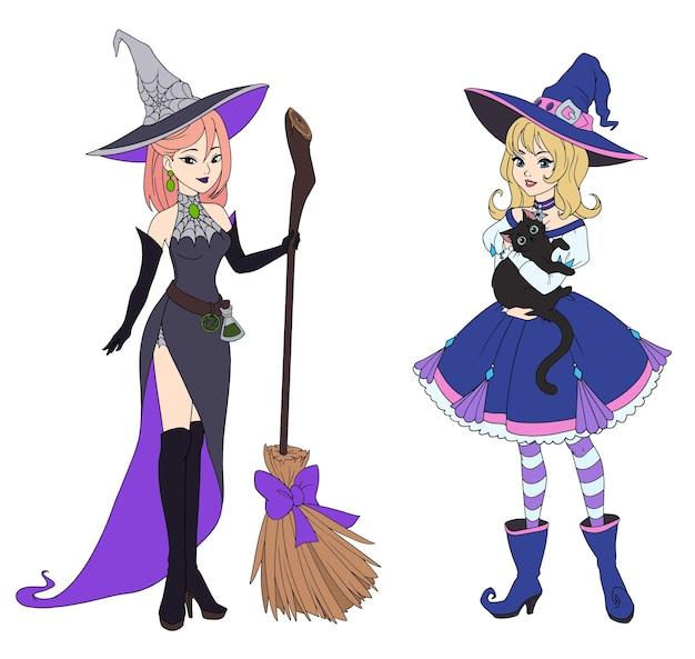 Satz von zwei hexen, die schwarze katze und besen halten.