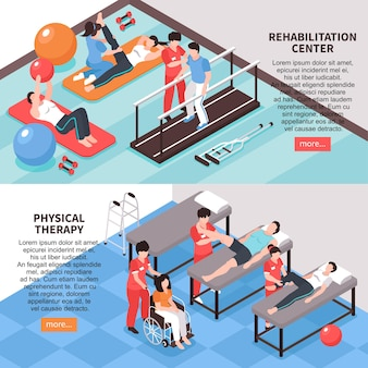 Satz von zwei horizontalen bannern der isometrischen rehabilitationsphysiotherapie mit bearbeitbaren textbildern und mehr lesen schaltfläche