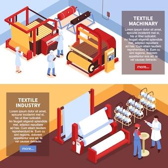Satz von zwei horizontalen isometrischen textilindustriefahnen mit fabrikanlagenmaschinerie und -arbeitskräften in der uniform