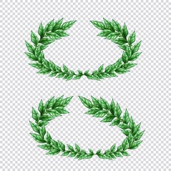 Satz von zwei isolierten grünen lorbeerkränzen im realistischen stil auf transparenter hintergrundillustration