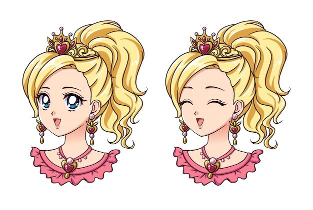 Satz von zwei niedlichen anime-prinzessin-porträts. versionen mit geöffneten und geschlossenen augen. hand gezeichnete illustration des retro-anime-stils der 90er jahre. auf weißem hintergrund isoliert.