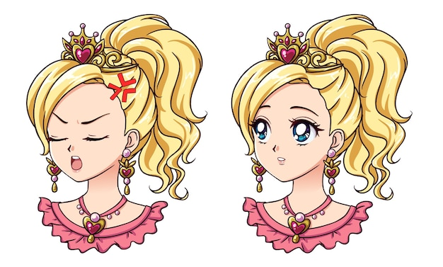 Satz von zwei niedlichen anime-prinzessin-porträts. zwei verschiedene ausdrücke. hand gezeichnete vektorillustration des retro-anime-stils der 90er jahre. isoliert.